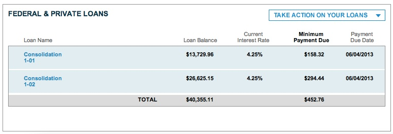 Month 13 of Sallie Mae repayment.