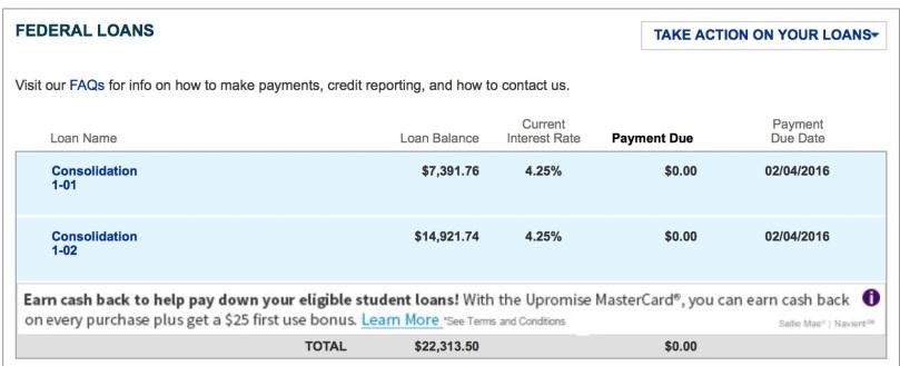February 4, 2015 - Student Loan balance update.